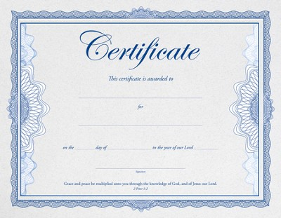 Embossed General Certificate (2 Peter 1:2) 6  -