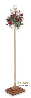 3-Light Pew Candlestick with Solid Brass Pole & Votives  -