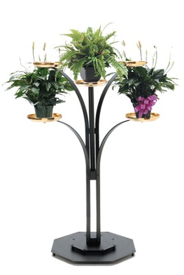 Black Brass-tone Contemporary Floor Plant Stand (48)   -