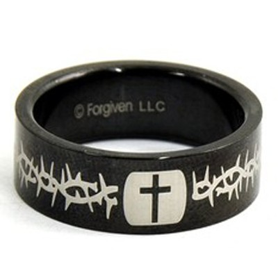 Cross and Thorns Ring, Black, Size 11  -