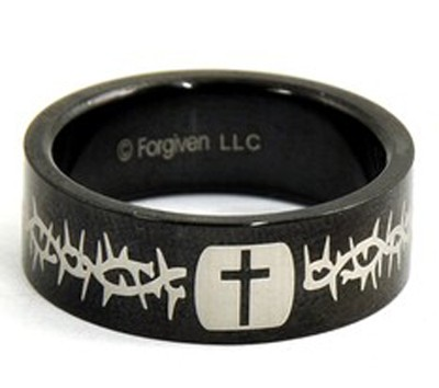 Cross and Thorns Ring, Black, Size 9  -