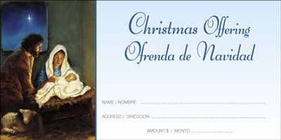 Traditional Nativity Christmas Offering Envelopes (Spanish / English) 100  -