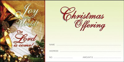 Joy to the World the Lord is Come, Christmas Offering Envelopes, 100  -