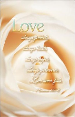Love Never Fails (1 Corinthings 13:7-8) Wedding Bulletins, 100  -