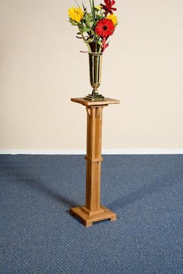 Flower Stand, Hardwood Maple with Pecan Finish  -