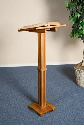 Standing Lectern, Hardwood Maple with Pecan Finish  -