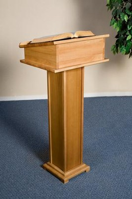 Lectern with Shelf, Hardwood Maple with Pecan Finish  -