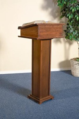 Lectern with Shelf, Hardwood Maple with Walnut Finish  -