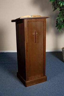 Full Lectern with Shelf, Hardwood Maple with Walnut Finish  -