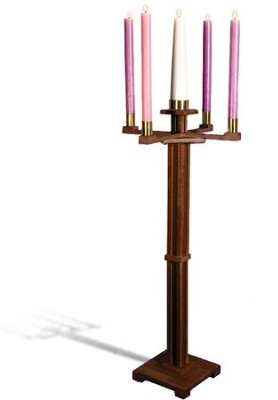 Advent Candlestick, Hardwood Maple with Walnut Finish   -