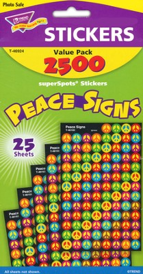 Peace Signs SuperSpot Stickers Value Pack  -
