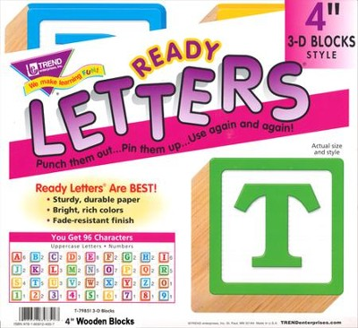 Wooden Blocks 4 In. 3-D Combo Ready Letters  -