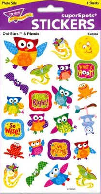 Owl- Stars! & Friends Super Shape Large Stickers  -