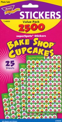 Bake Shop Cupcakes SuperSpots Stickers Variety Pack  -