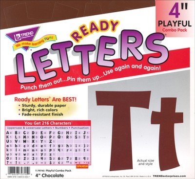 Chocolate 4 In. Playful Combo Ready Letters  -