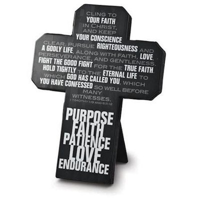 Purpose, Faith , Patience, Love, Endurance--Metal Wall Cross  -