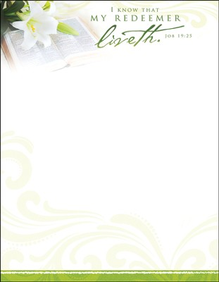 My Redeemer Liveth (Job 19:25) Easter Letterhead, 100  -