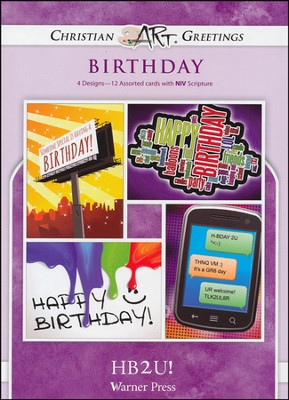 HB2U! Box of 12 Assorted Teen Birthday Cards  -