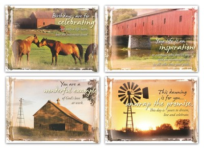 Country Blessings, Box of 12 Assorted Birthday Cards  -