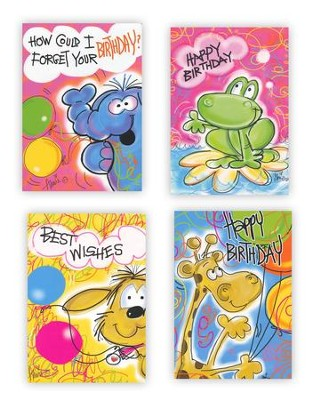 Party Animals Kids, Box of 12 Assorted Birthday Cards  -