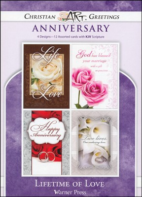 Lifetime of Love, Box of 12 Assorted Anniversary Cards  -
