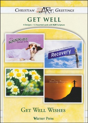 Get Well Wishes, Box of 12 Assorted Get Well Cards  -
