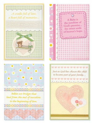Bundles of Blessings, Box of 12 Assorted Baby Congratulations Cards  -