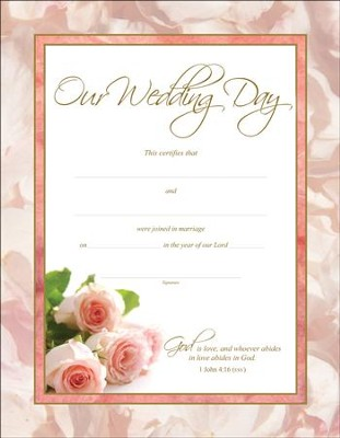 Wedding Roses Certificates (1 John 4:6, ESV) 6  -