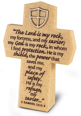 Lord is My Rock Cross with Shield  -