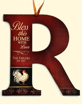 Personalized, Bless This Home Hanging Letter R, Rooster   -