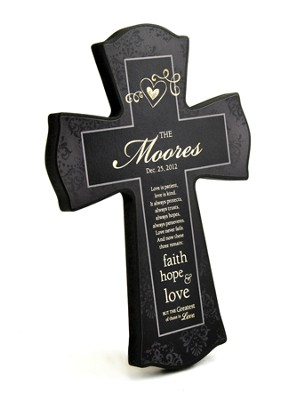 Personalized, Love Never Fails Cross, Black, Small   -