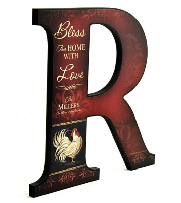 Personalized, Bless This Home Letter R, Rooster   -