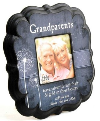 Personalized, Grandparents 4X4 Photo Frame, Blue   -