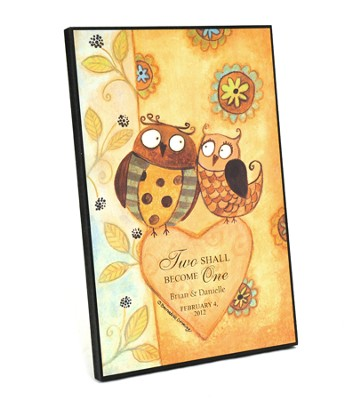 Personalized, Framed Art, Two Owls, Two Shall Become   One  -