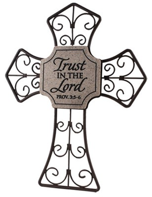 Trust in the Lord--Curled Metal Cross   -