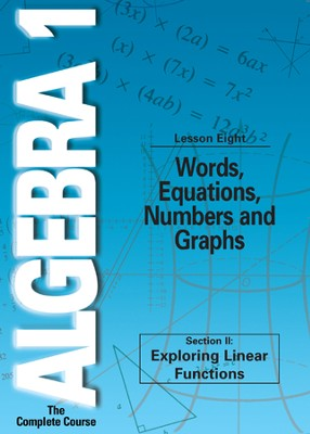 Algebra 1 - The Complete Course: Words, Equations, Numbers and Graphs DVD  -
