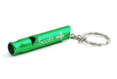 Personalized, Green Whistle Keyring, With Cross   -