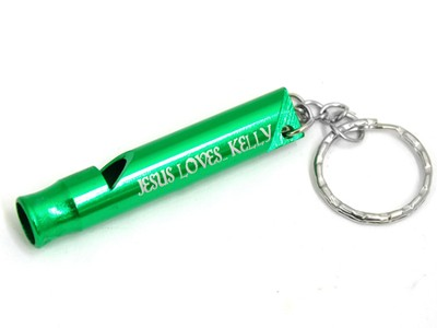 Personalized, Green Whistle Keyring, Jesus Loves Me   -