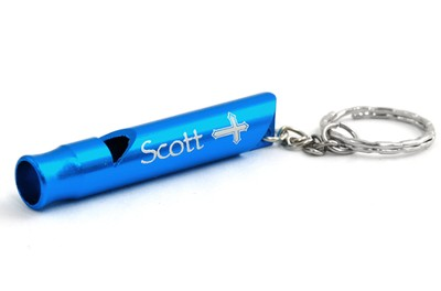 Personalized, Blue Whistle Keyring, With Cross   -