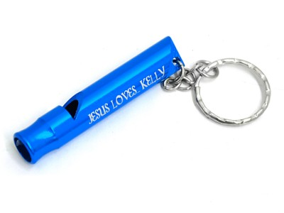 Personalized, Blue Whistle Keyring, Proverbs 3:5   -