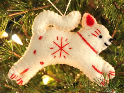 Snowflake Cat Ornament, White, Fair Trade Product  -