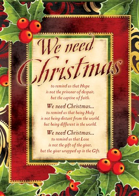 We Need Christmas, Box of 12 Christmas Cards  -