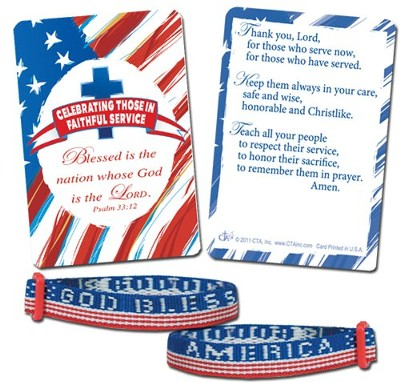 God Bless America Bracelet with Pocket Card  -