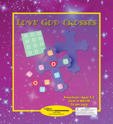 Love God Crosses Craft Kits, 24 Pack, Ages 3-5   -