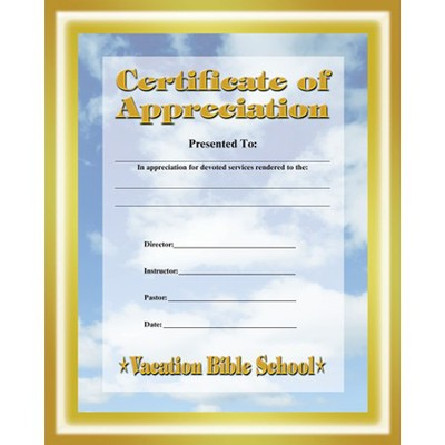 Certificate of Appreciation  -