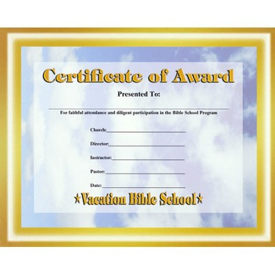 Certificate of Award  -