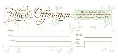 Tithe & Offerings (Proverbs 3:9) 52 Envelopes, Bill size  -