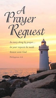 A Prayer Request, Lighthouse, Pew Cards (Philippians 4:6) Pack of 50  -