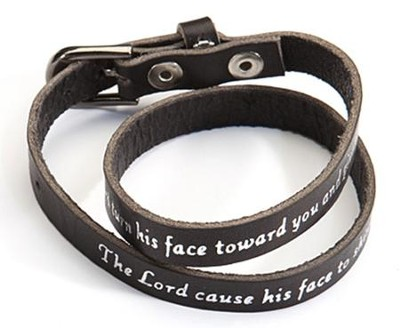 Black Leather Bracelet: Aaron's Blessing  -