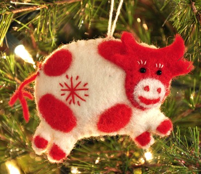 Snowflake Cow Ornament, White, Fair Trade Product  -
